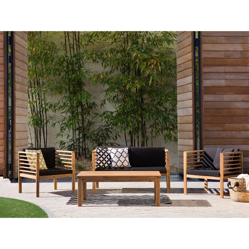 Oasis 4 Seater Garden Lounging Table And Chairs Set: 4 Seater Sofa Set With Cushions
