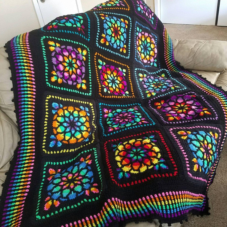 Breathtaking Stained Glass Crochet Afghan Custom Order Only
