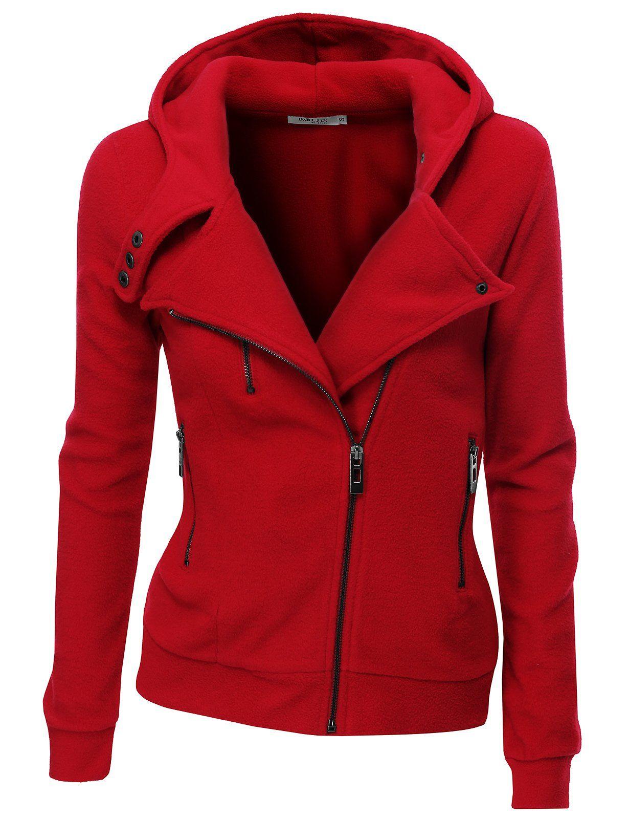 Doublju Women s Fleece Zip-Up High Neck Jacket at Amazon Women s Clothing  store  Fleece Outerwear Jackets 3cc94d761