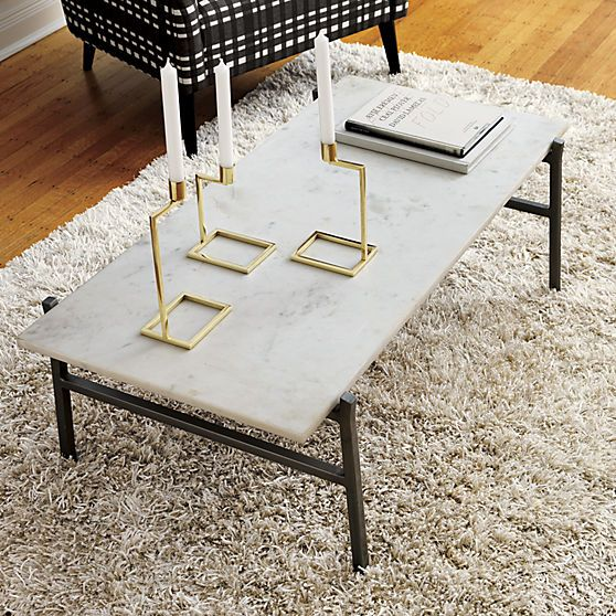 Slab Small Marble Coffee Table With Antiqued Silver Base Stone