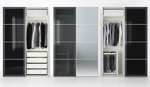 pax kleiderschr nke u a pax kleiderschrank in weiss mit auli uggdal paneelen f r schiebet r. Black Bedroom Furniture Sets. Home Design Ideas