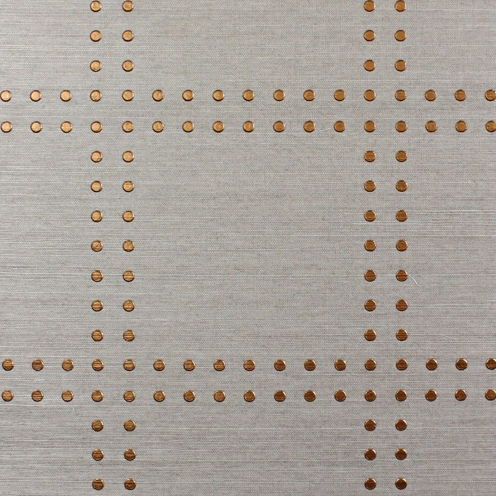 Gray Powder Room With Grey Grasscloth: Rivets By Phillip Jefferies (copper On Hemp Wallpaper