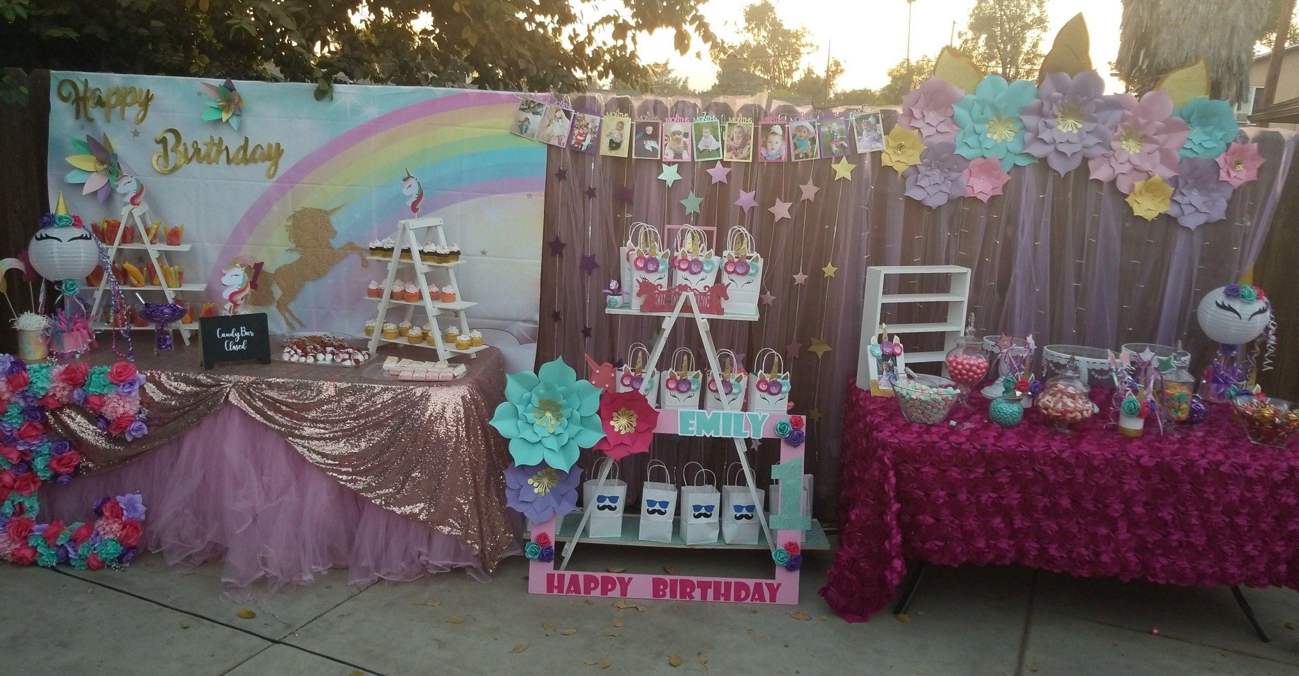 Unicorn 1st Birthday Party Diy Unicorn Party Unicorn Candy Buffet Diy Unicorn Party 1st Birthday Parties Diy Birthday Party