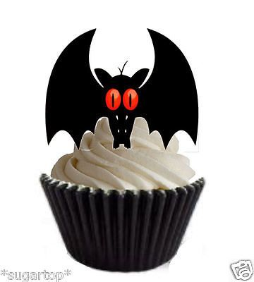 20 xred eye bats #halloween - stand ups edible wafer cup cake