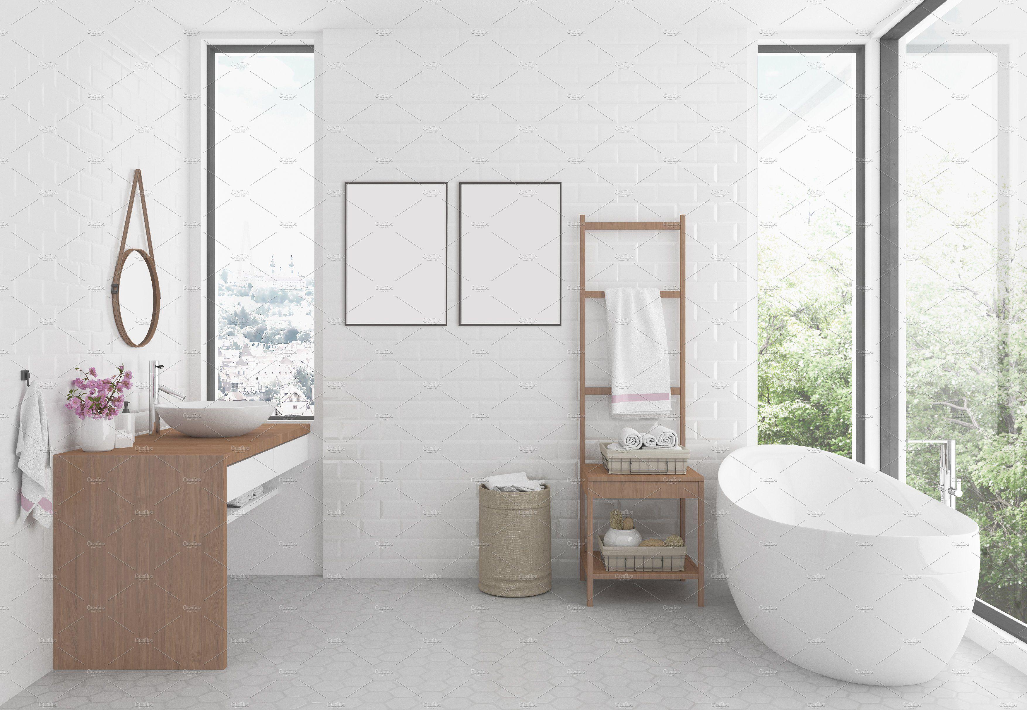 Interior Mockup Bathroom Background Bathroom Interior Interior Wall Design