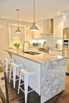 Kitchen Counter Islands waterfall island countertop on one side - google search | island