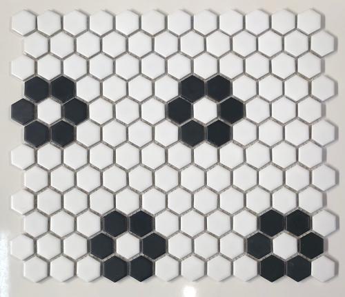 Hex 1025 1 Inch Hexagon Matte White Black Florette Pattern Mosaic Tile Mosaic Tiles Hexagon Mosaic