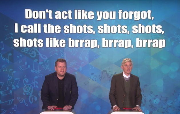 Watch James Corden and Ellen DeGeneres try to guess Drake, Rihanna and Taylor Swift lyrics -…