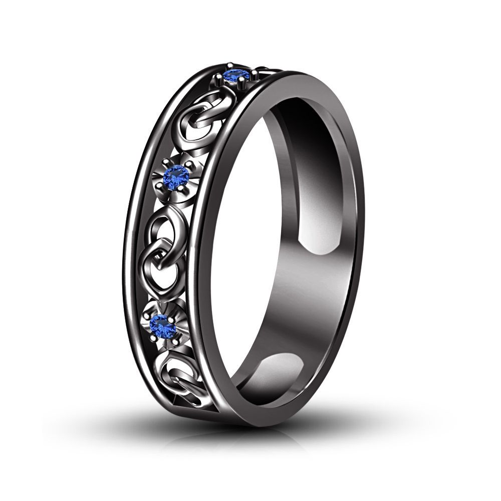Anniversary Band Ring Blue Sapphire Black Gold Finish In 925  Silver