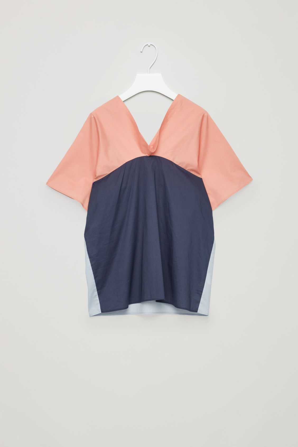 237222fadc028 Front image of Cos draped-neck cotton top in orange