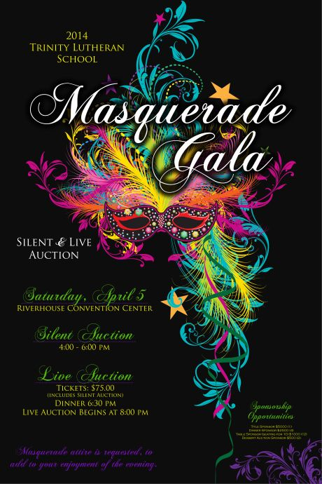 Masquerade Ball Themed Auction Poster Charity Fundraiser School Church Non Profit I Would Love To Customize This For Your Event