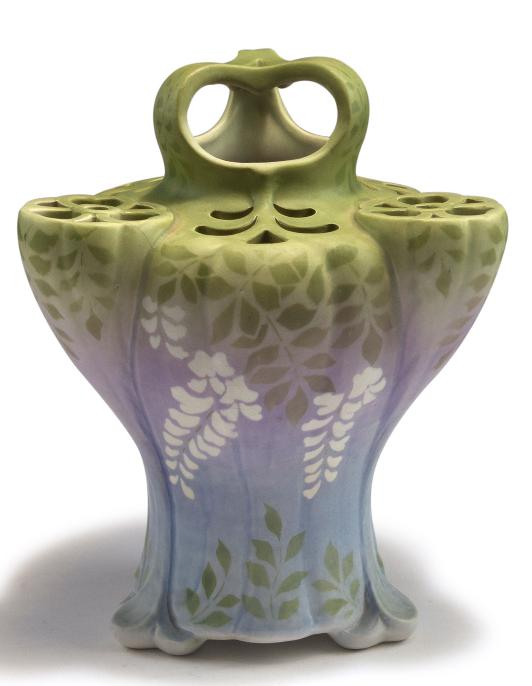 Edmond Lachenal, Châtillon-sous-Bagneux. Vase, c1895. H. 27.2 cm. Earthenware, glazed matt green, purple and white. Signed: LACHENAL, maker's mark, collection label.