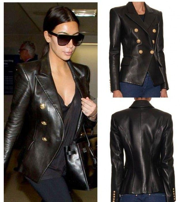 Kim Kardashian Double Breasted Black Genuine Real Biker Retro Leather Blazer