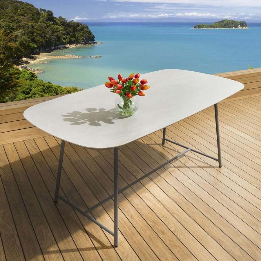 Ceramic Rectangular 8 Seater Dining Table Indoor Outdoor Concrete