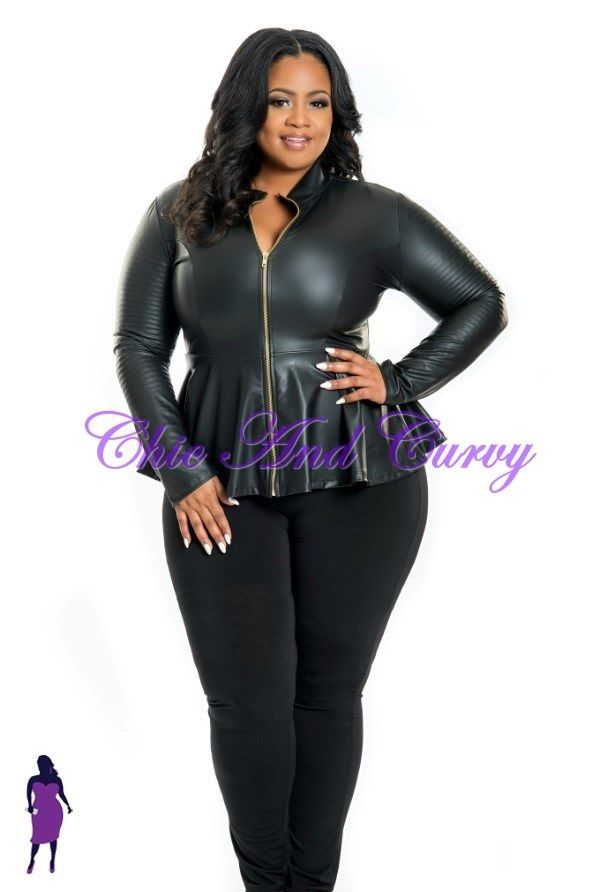 new plus size faux leather jacket/shirt in black with gold zipper