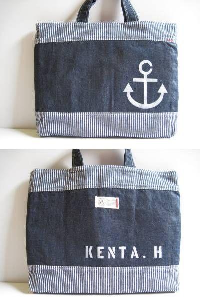 名入れ ハンドメイドデニム×ヒッコリーレッスンバッグ最終 Handmade lunch bag ¥1700yen 〆04月13日