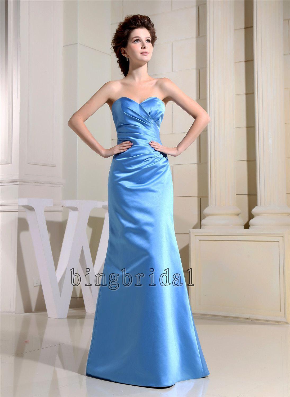 A-line Strapless Floor-length satin  Bridesmaid/ Wedding Party dress. $92.00, via Etsy.
