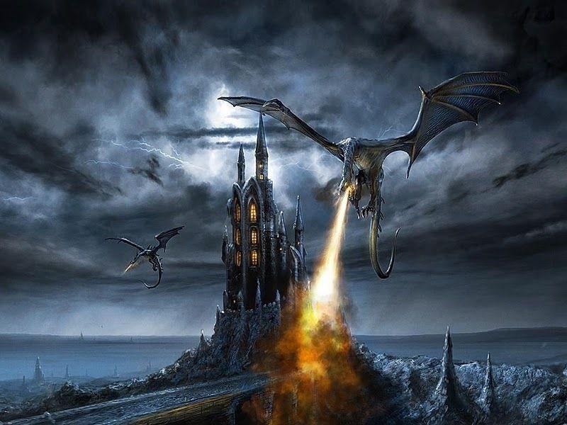 Dragon burns castle
