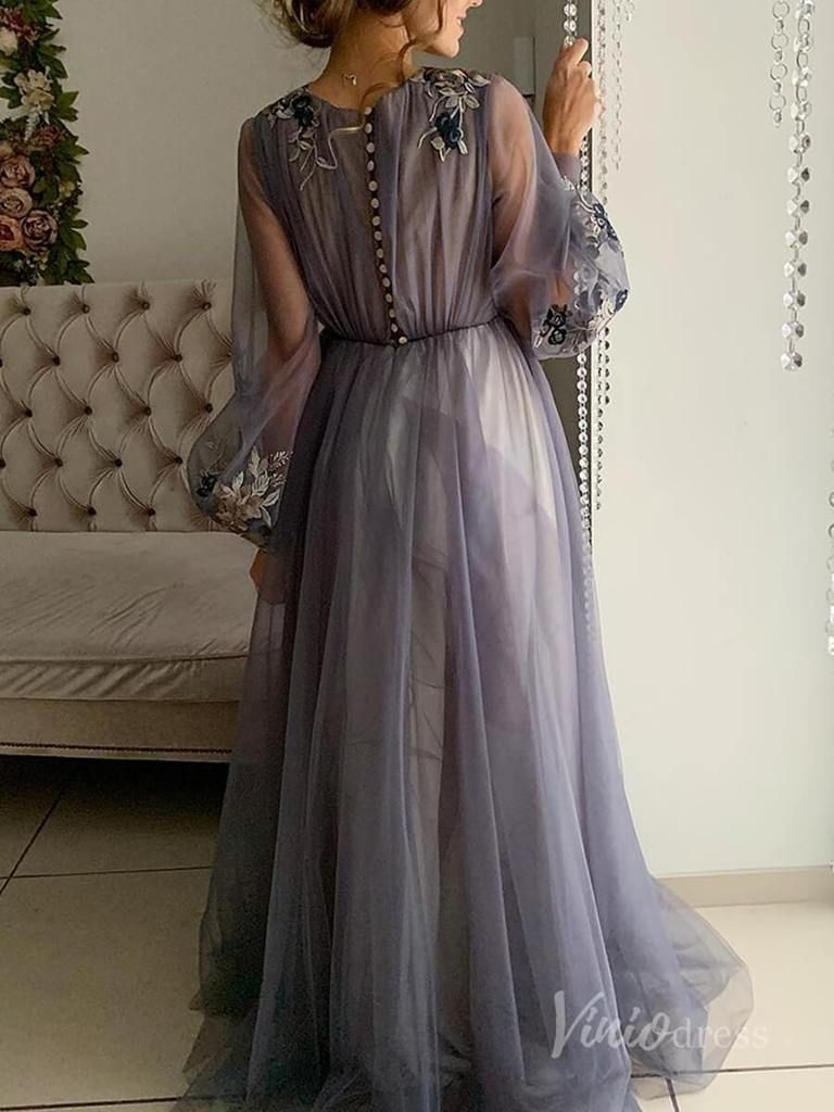 Long Sleeve Dusty Rose Prom Dresses Embroidered Engagement Party Dress FD1654