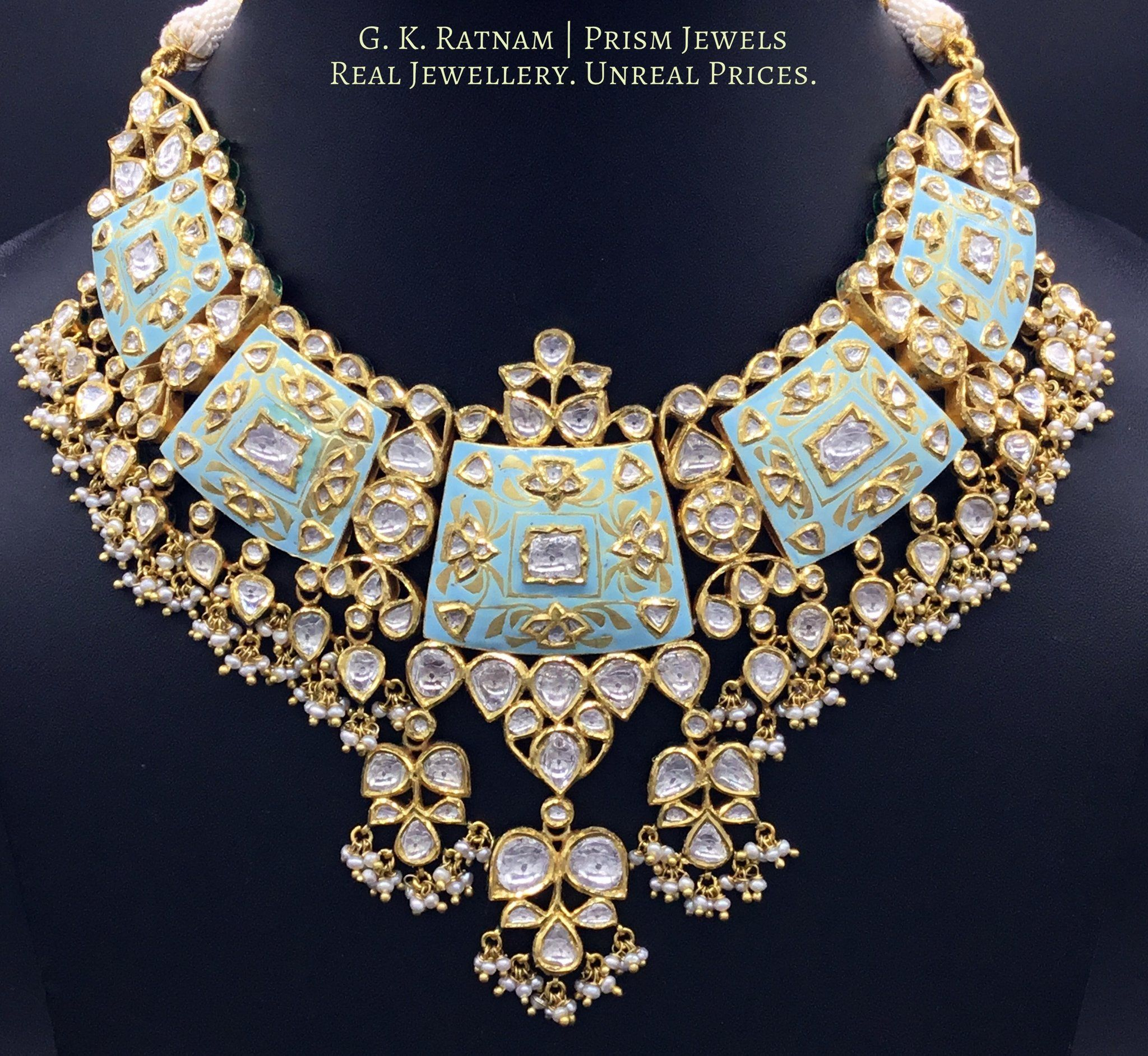 Necklace set uncut diamond indian bridal and diamond