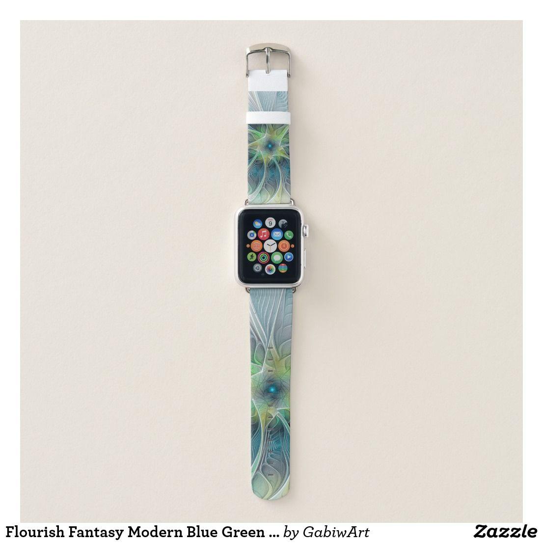 Flourish Fantasy Modern Blue Green Fractal Flower Apple Watch Band Zazzle Com Apfeluhr Armband Armbanduhr