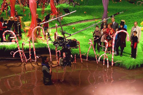 On the set of Charlie and the Chocolate Factory, directed ...