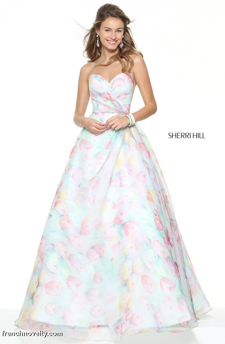 Sherri Hill 50934 Subtle Floral Print Prom Dress