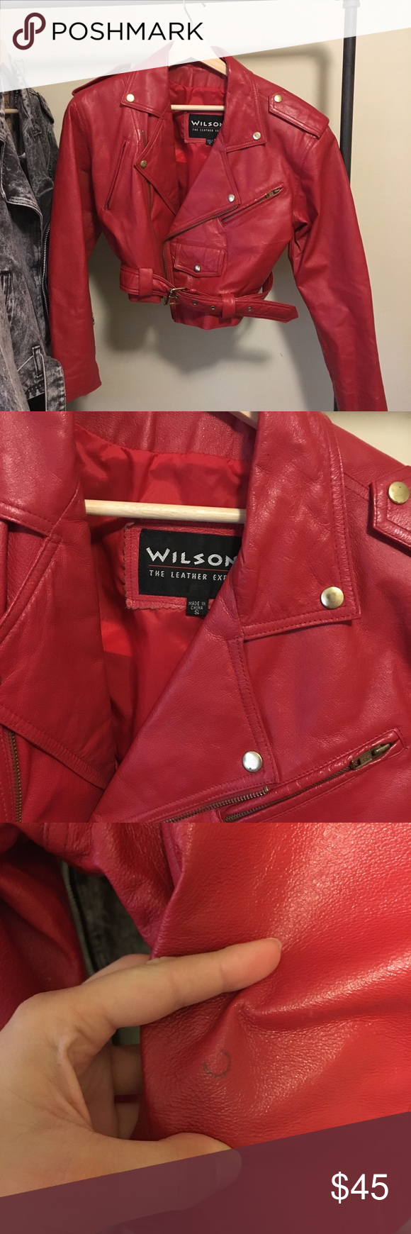 Vintage Cropped Red Leather Jacket Red Leather Jacket Leather Jacket Jackets [ 1740 x 580 Pixel ]