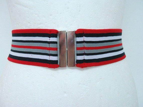 771d908216bbf Elastic belt Nautical Stripe Waist cincher Stretch Red simple elastic belt  womens cinch belt Stretch Belt