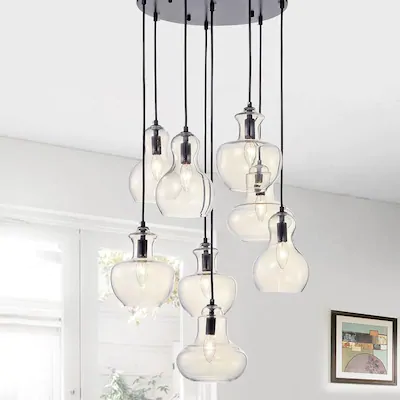 Home Accessories Inc 8 Light Black Modern Contemporary Clear Glass Globe Chandelier At Lowes Co In 2020 Warehouse Of Tiffany Glass Pendant Light Glass Globe Chandelier