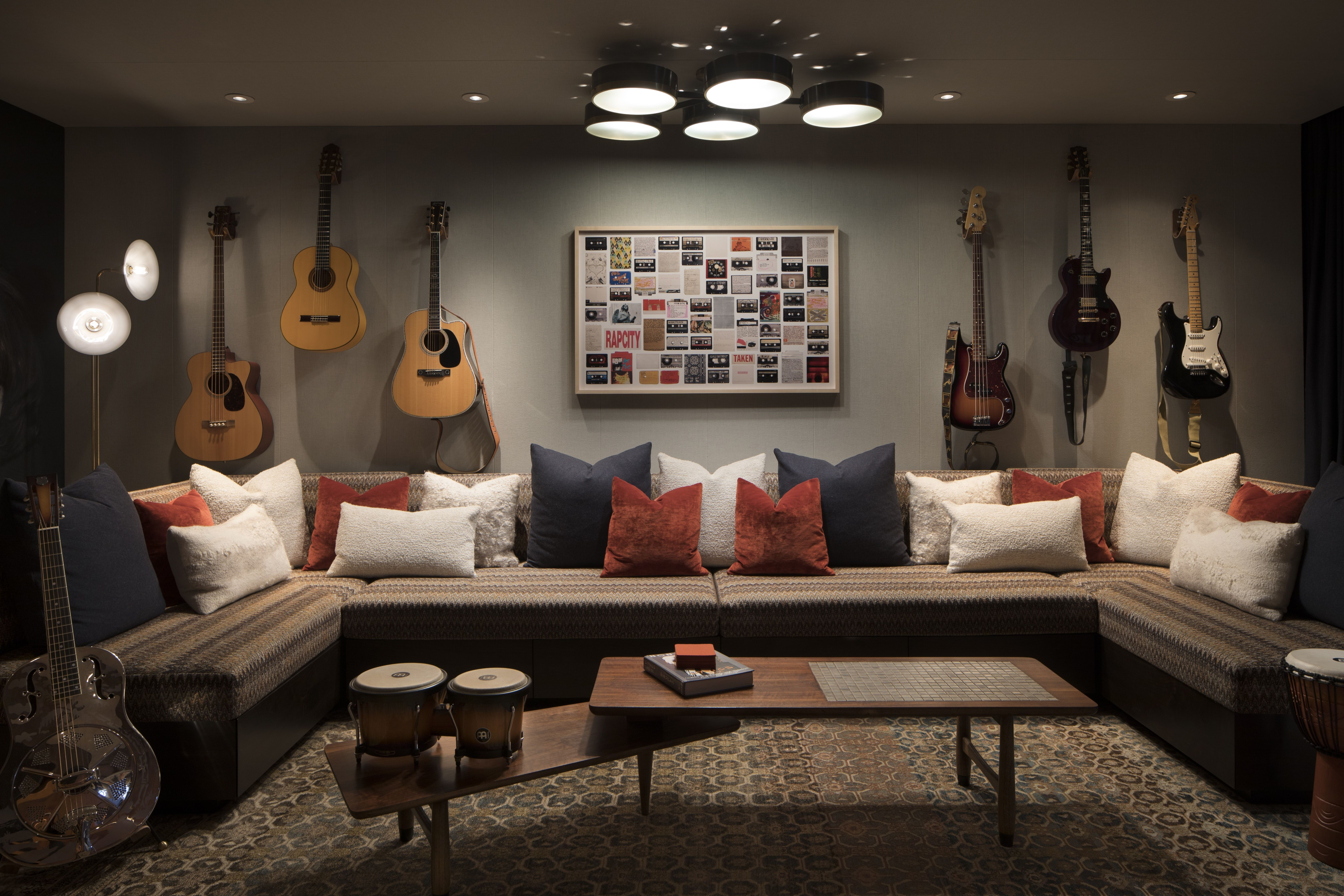 Band Room In A Contemporary Mountain Retreat House And Home Magazine Home Modern Music Room The living room band