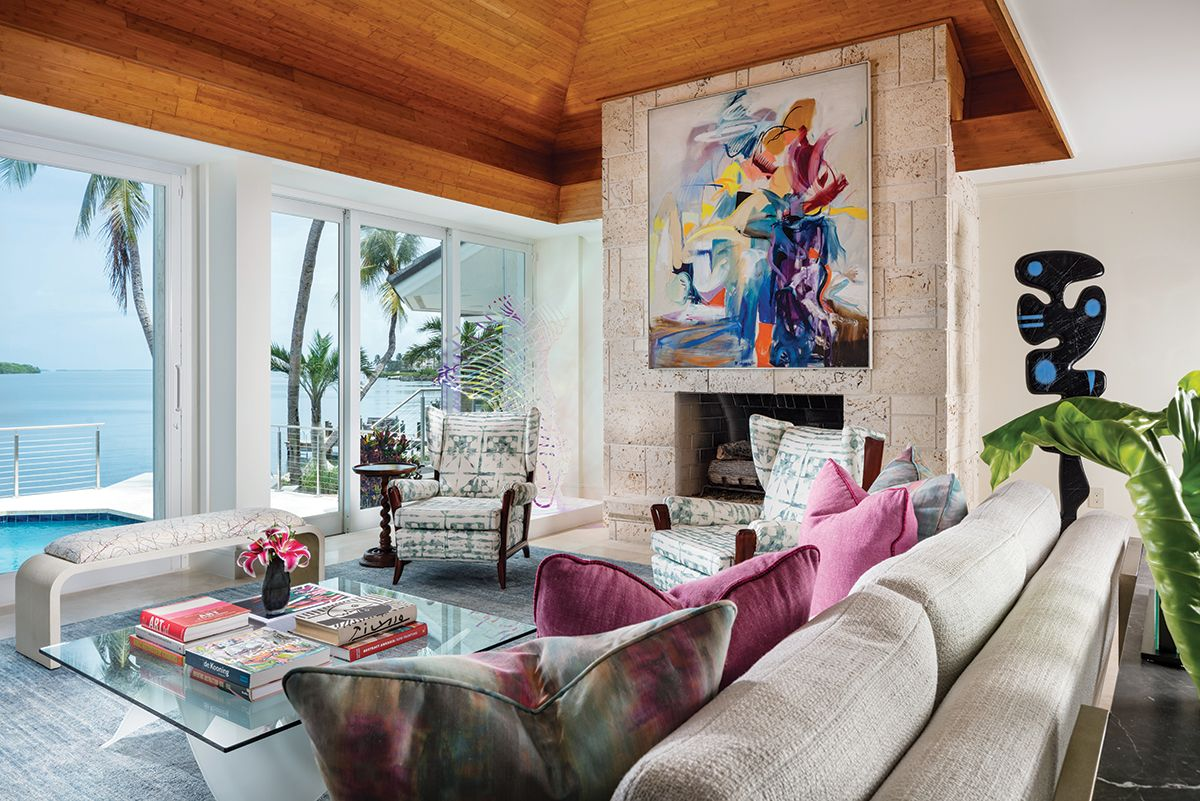 In The Living Area The Original Coquina Stone Fireplace Reaches