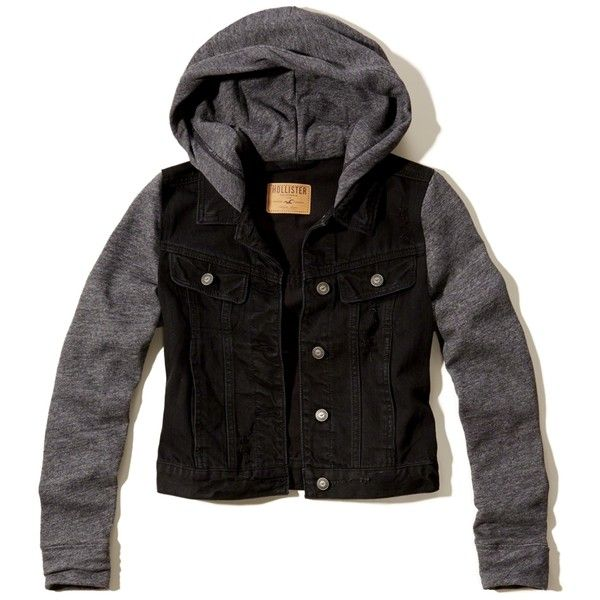 Hollister Denim Hoodie Jacket 78 Brl Liked On Polyvore Featuring Outerwear Jackets Destroyed Black Hooded Denim Jacket With Hoodie Denim Hoodie Hoodies