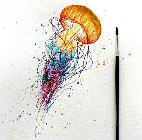 d85042ae5 Watercolour jellyfish. Colours: yellow, blue and purple | Paint in ...