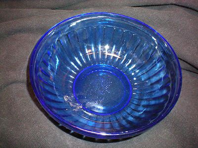 Vintage Blue Glass Bowl Dish With Ribbed Sides 5 5 By 2 Nice
