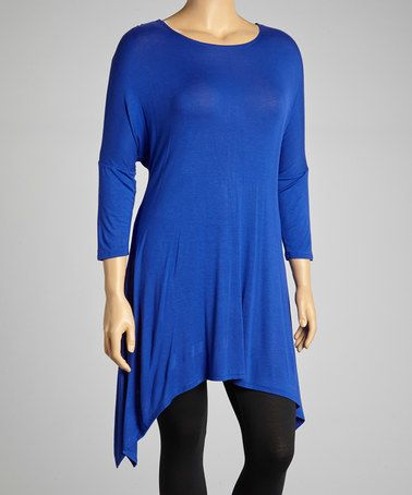 MOA Collection Royal Blue Sidetail Tunic Plus | zulily