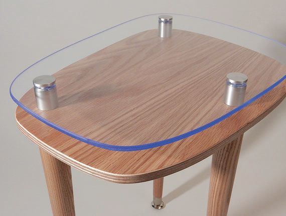 Rectangle Accent Table Clear Satin Finish By