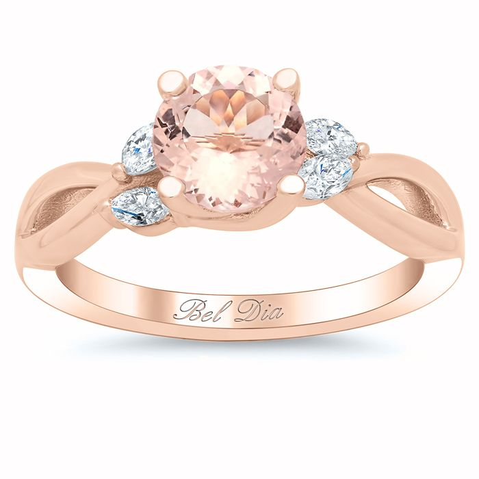 Morganite Vine Twisted Rose Gold Engagement Ring with Marquise