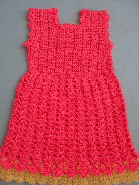 crochet / crosia baby frock, baby dress, v stitch dress, v ...