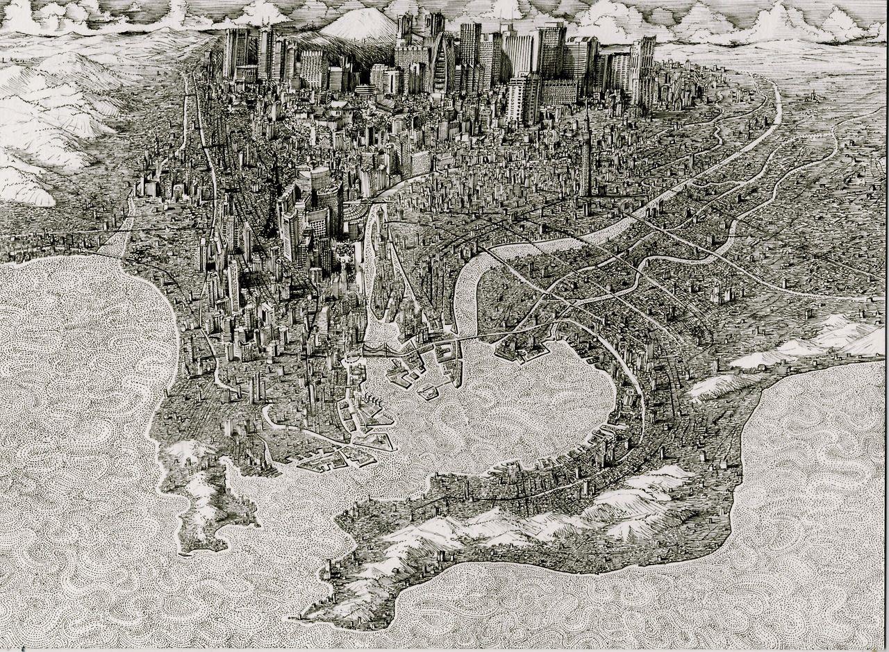 """Tokyo (2014) Pen and ink, 8.5"""" x 11"""", Benjamin Sack : www.bellerbyandco.com"""