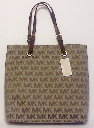 f00c7d1f383aec Michael Kors Jet Set MK Logo Jacquard Large Tote Bag in Mocha and Cream |  Traveling Of Life #fashion #women #bags #shoes #clothing