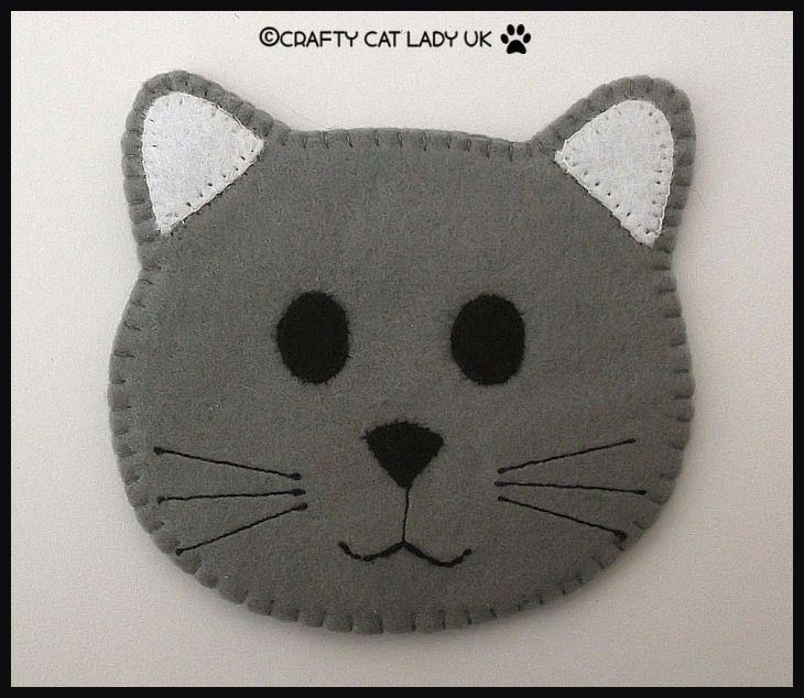 Set Of 6 Cat Face Felt Drink Coasters Cat Lady Drink Coasters Felt