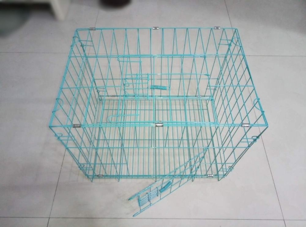 blue color iron steel wire dog cage also can use as rabbit cage and ...