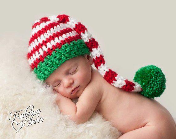Newborn Christmas Hat  Crochet Stocking Cap Baby Boy Prop  Baby Girl Prop   Newborn Pixie Hat  Baby E 63a018fc701
