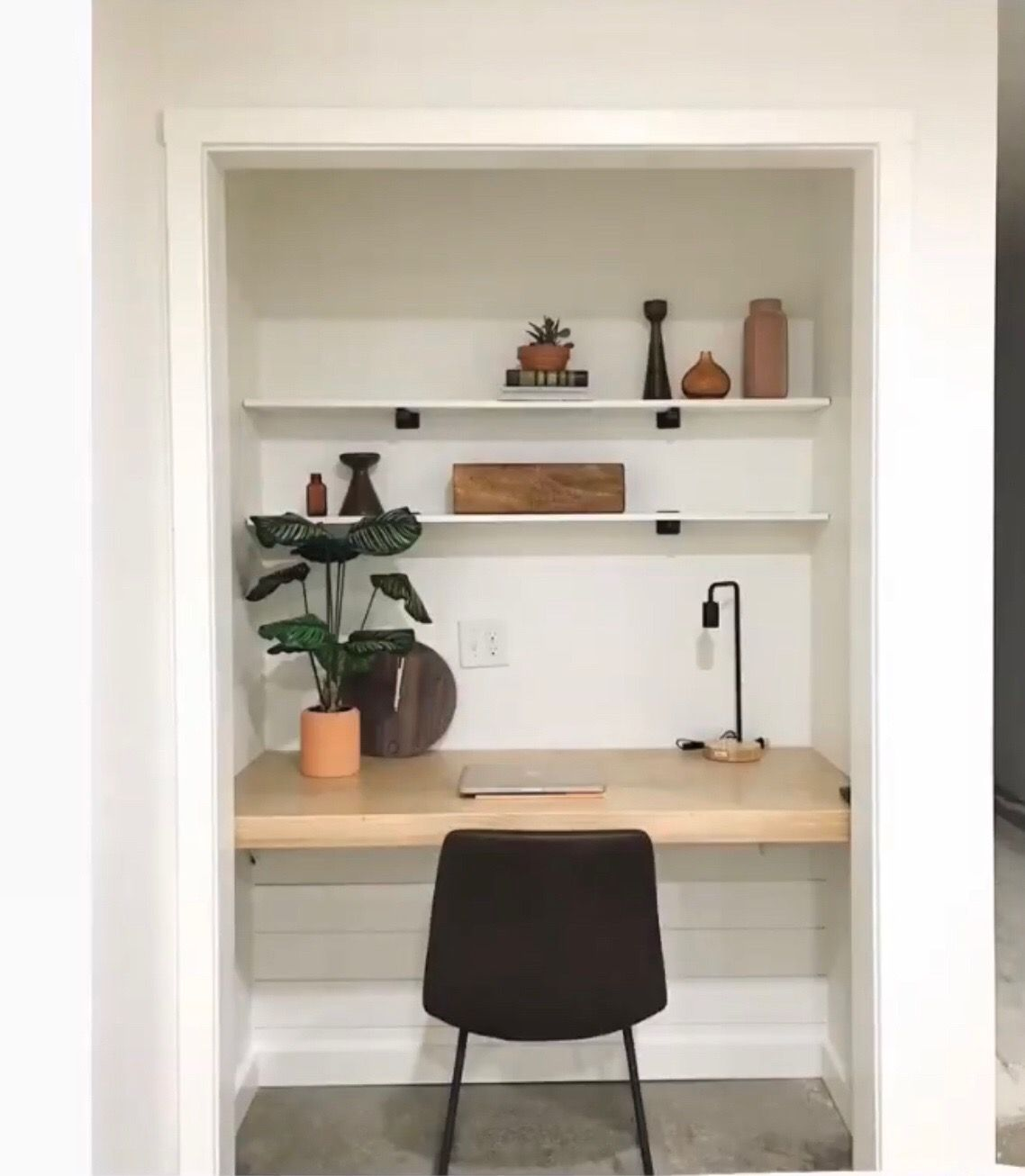 Convert closet into desk area my mom did this 30 years