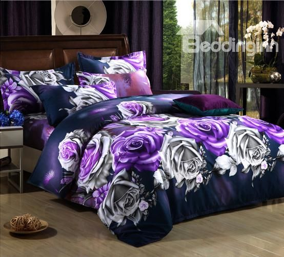 Beautiful Purple Rose Flower Print 4 Piece Bedding Sets Duvet