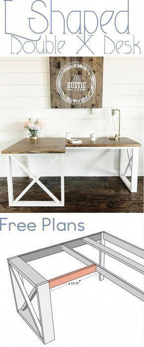 Get these free DIY Office Desk Woodworking Plans! Click over to the blog for full details! #DIY #WoodWorking #OfficeDesk #DeskIdeas #HomeDecor #WoodworkingPlansBed