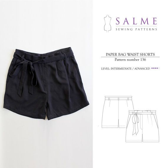 PDF Sewing pattern - Paper bag waist shorts | Proyectos que intentar ...