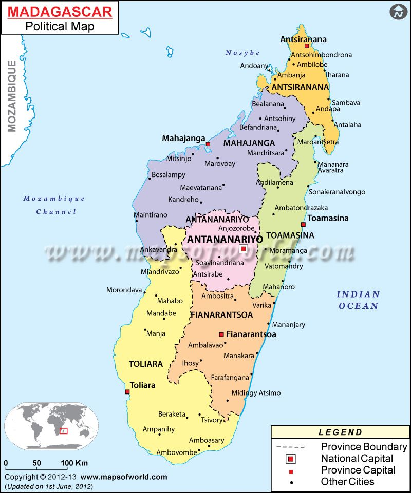 Mapa poltico de Madagascar  Mapa de Pases  Pinterest