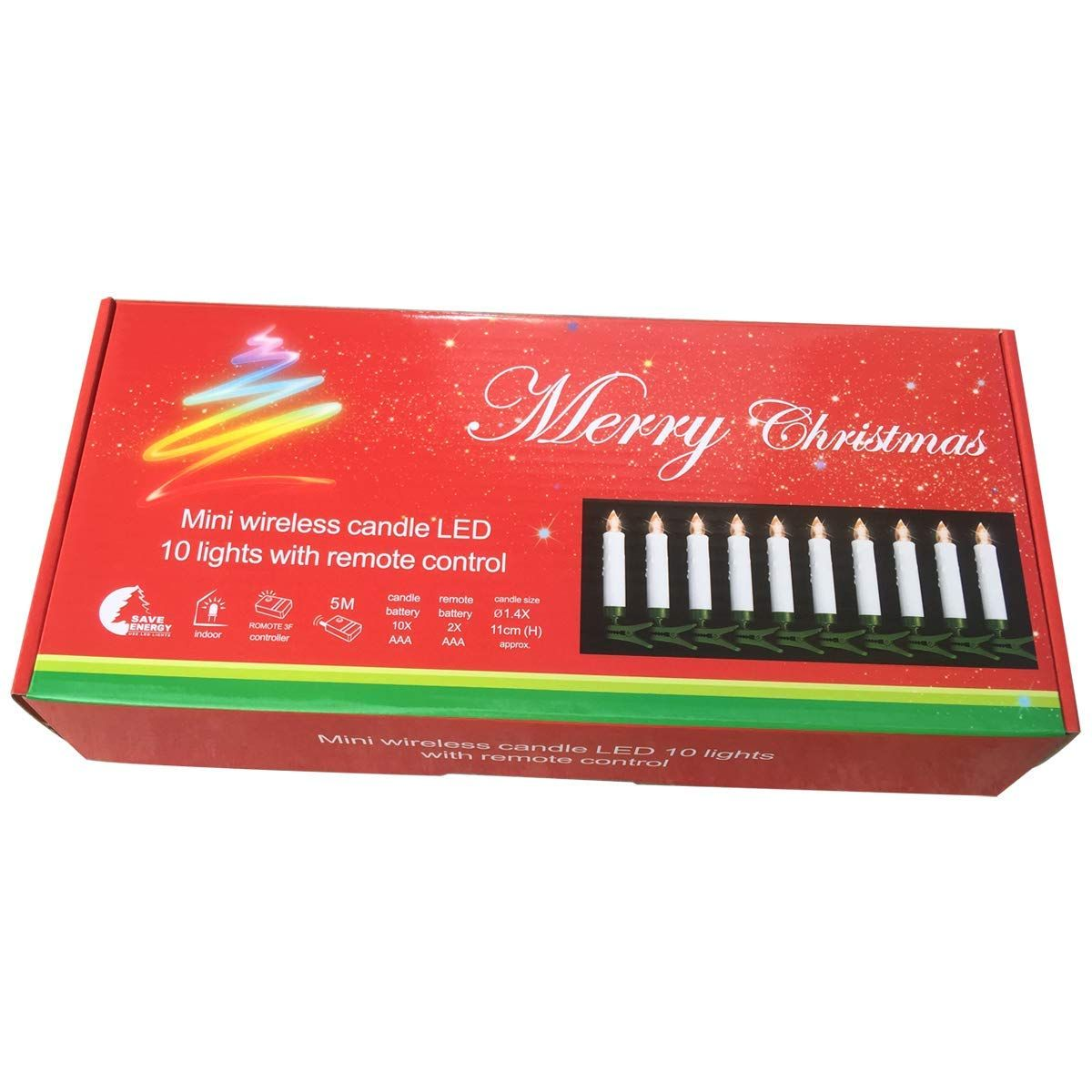 (10 Pcs) Candle Lights for Christmas Tree with